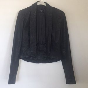 7 for All Mankind cropped leather jacket. Xs